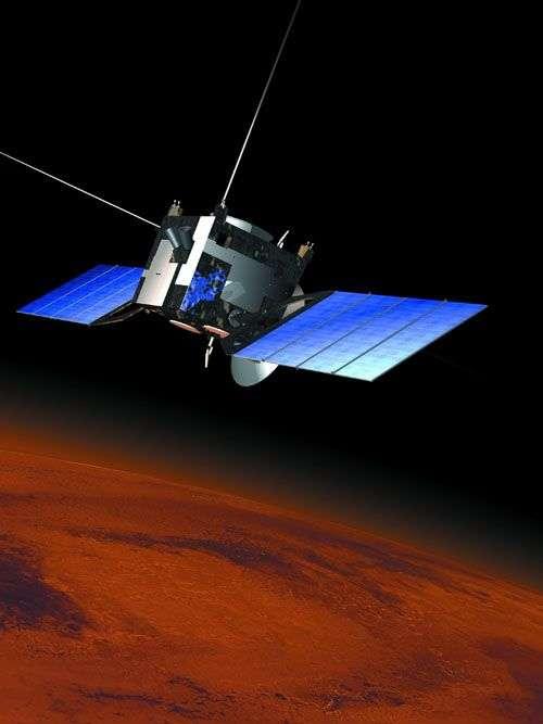 Vue d'artiste de Mars Express en orbite. Crédit : Esa