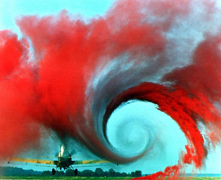 Tourbillon (turbulence) d'une aile d'avion. Les turbulences sont des phénomènes qui font partie du cadre d'un système dynamique non linéaire. © Nasa Langley Research Center (Nasa-LaRC), domaine public