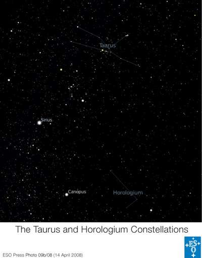 La constellation de l'Horloge où se trouve l'étoile Iota Hor. © ESO