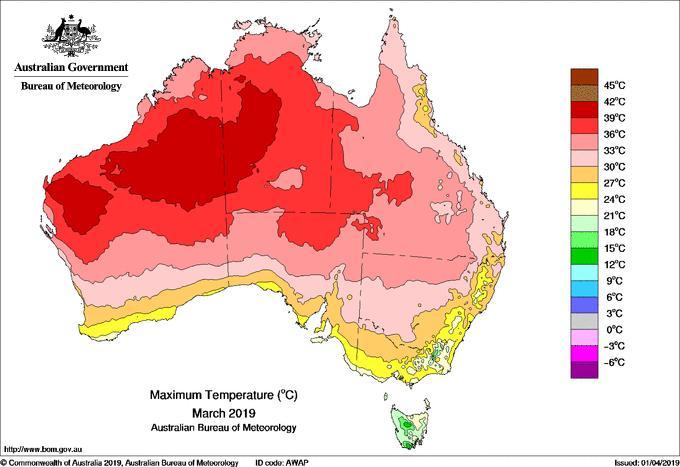 Le mois de mars 2019 s'est classé comme mois de mars le plus chaud jamais enregistré en Australie. L'île-continent a connu ainsi quatre records de chaleur mensuels à la suite. . © Commonwealth of Australia 2019, Australian Bureau of Meteorology