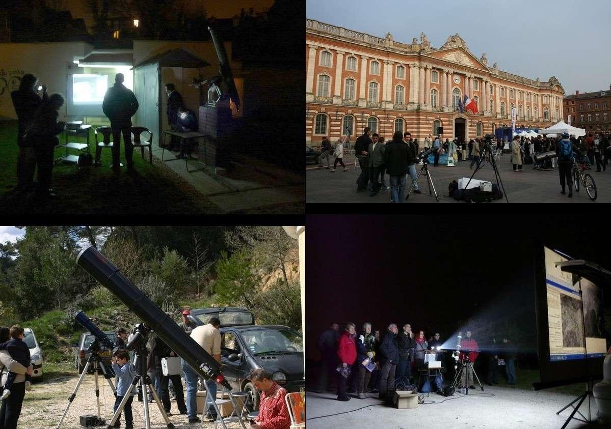 Les 100 heures de l'astronomie aux quatre coins de France. Crédits Vle, Roule, mcben83, jbfe