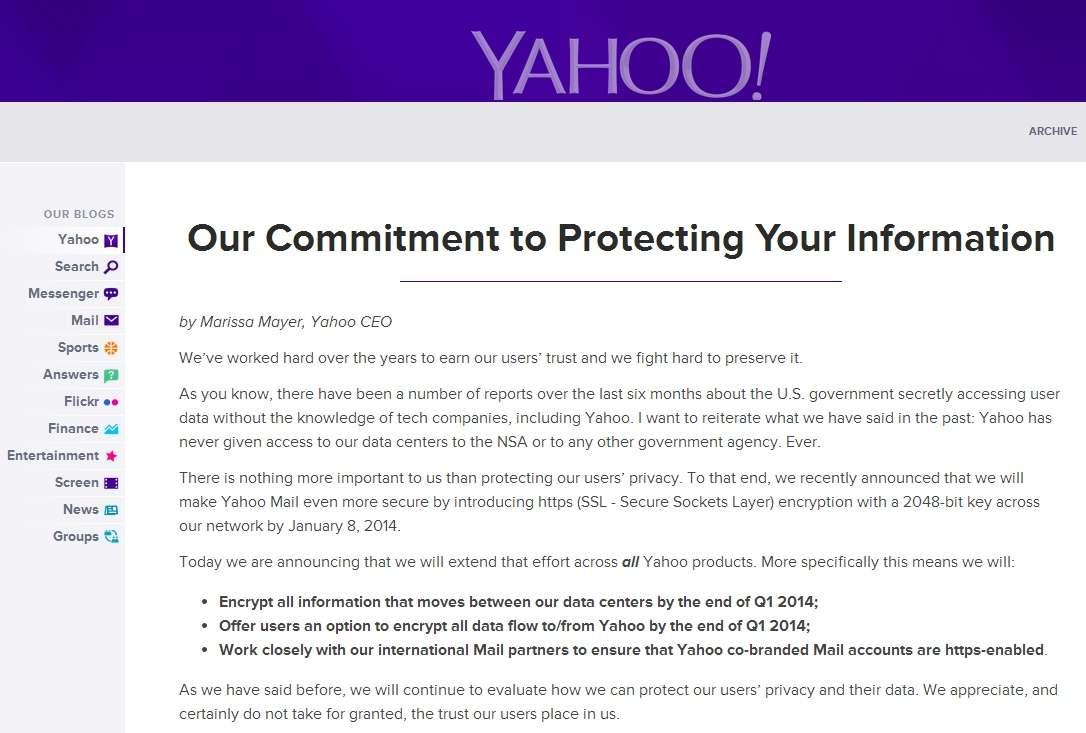Avec un peu de retard par rapport à Microsoft et Google, Yahoo! annonce que le service de messagerie Yahoo! Mail sera entièrement chiffré d'ici le 8 janvier prochain. Pour le moment, il ne s'agit que d'une option récente qui n'est pas activée par défaut. © Sylvain Biget, Futura-Sciences