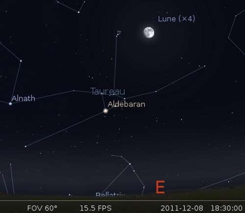 Le 09/12/2011 : la Lune en rapprochement avec les Pléiades. © DR