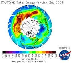 valeurs de la colonne d'ozone le 30/01/2005 valeur normale = 300 u. Dobson, trou < 220 u. Dobson crédit : TOMS (NASA)