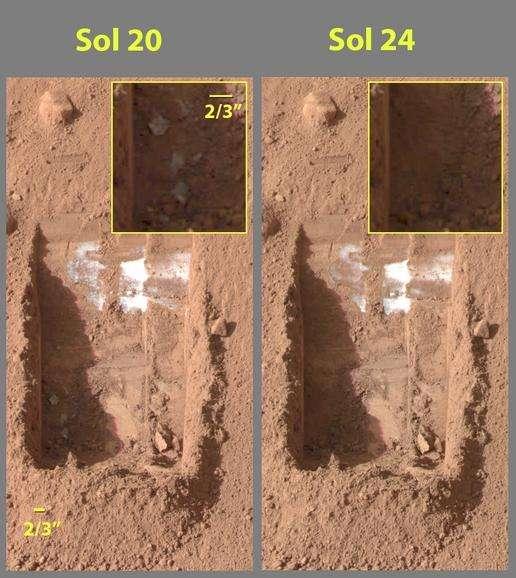 Glace se sublimant au fond de tranchées de 6 cm de profondeur creusées dans le sol martien. Crédit Nasa/JPL
