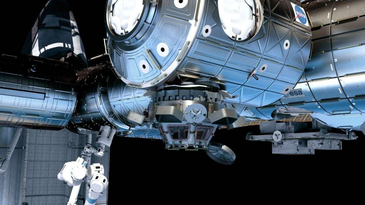 La Station spatiale avec les deux nouveaux modules qui seront intégrés pendant la mission. Crédit Thales Alenia Space