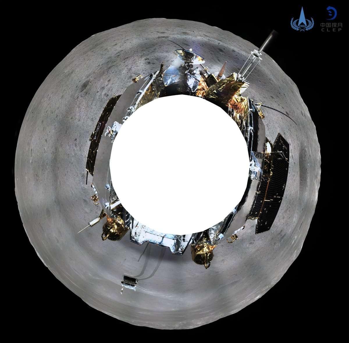 Vue à 360° de la face cachée de la Lune prise par une caméra embarquée sur le rover chinois Yutu 2 de la mission Chang'e 4, la première à atterrir sur ce côté de de notre satellite.© Xinhua/China National Space Administration (CNSA)