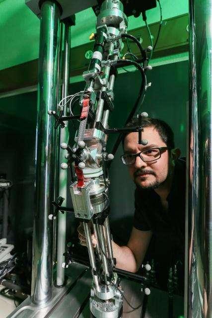 Grâce à plusieurs capteurs, cette prothèse de genou mise au point à l'EPFL mesure le comportement de l'articulation afin de déceler d'éventuels problèmes d'alignement ou de descellement, assez fréquents. © Alain Herzog, EPFL