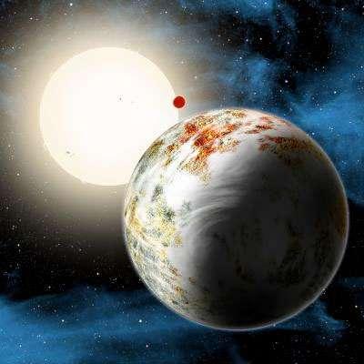 Vue d'artiste de la première mégaterre découverte par l'observatoire spatial Kepler : Kepler-10c. © Harvard-Smithsonian Center for Astrophysics