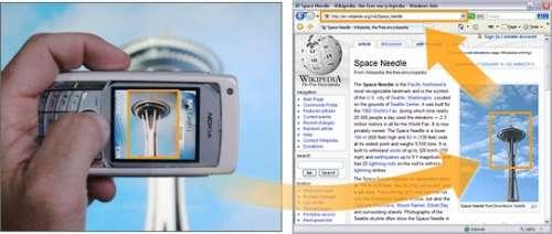 Un jour, peut-être, nos téléphones-appareils photo-ordinateurs disposeront d'un logiciel de ce genre. Dès le cliché pris, une recherche sur le Web ramènera des informations sur le monument photographié… Crédit : Microsoft.