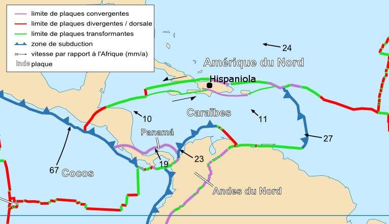 Le contexte tectonique actuel de l'île d'Hispaniola. C'est la grande faille transformante au sud de l'île (en vert) qui est responsable du séisme du 12 janvier 2010. © Sting et Rémih, Wikimedia Commons, CC by-sa-2.5