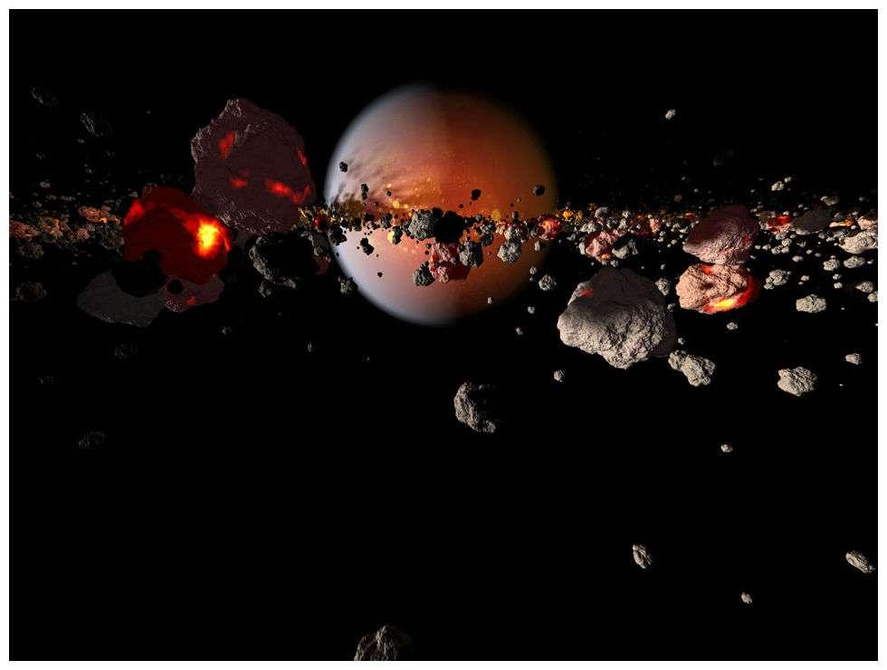 Lors de la collision entre Théia et la Terre, un disque de débris se serait formé autour de notre Planète. Celle-ci (à l'arrière-plan) apparaît avec un océan de magma à sa surface. © Cosmic Collisions Space Show, Rose Center for Earth and Space, AMNH