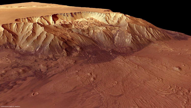 Reconstitution du dénivelé du canyon de Melas Chalma grâce aux images de la caméra stéréoscopique de Mars Express. © Esa/DLR/FU Berlin/G. Neukum