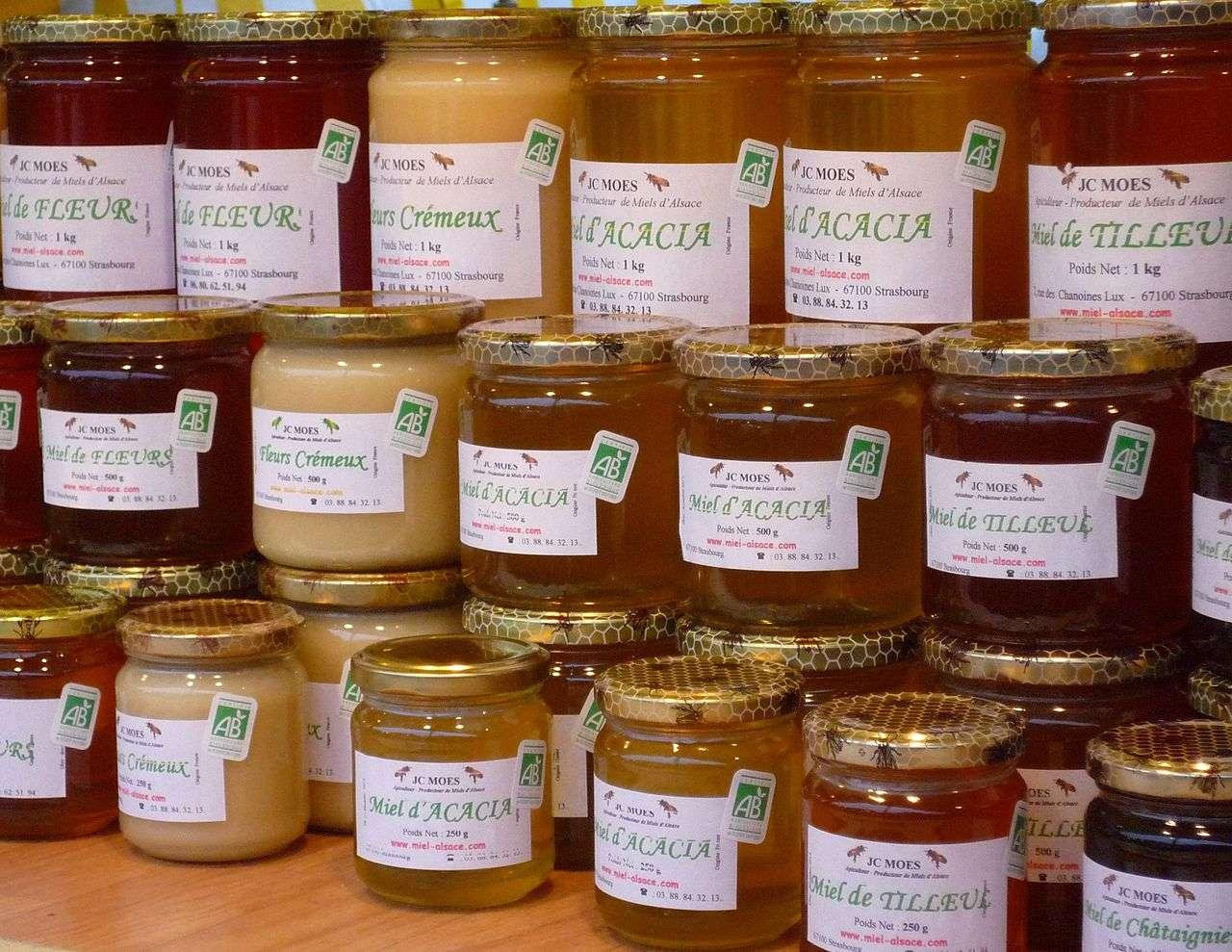 Miels d'Alsace issus de l'agriculture biologique. © Claude Truong-Ngoc, Wikimedia, cc by sa 3.0