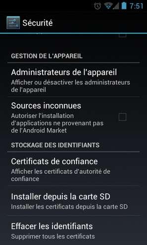 Interdire l'installation d'applications tierces sur son appareil Android est un bon moyen de se prémunir de l'installation d'outils externes. Cette case ne doit être cochée que si vous savez exactement ce que vous faites, par exemple en installant une boutique d'applications légale. © Guénaël Pépin