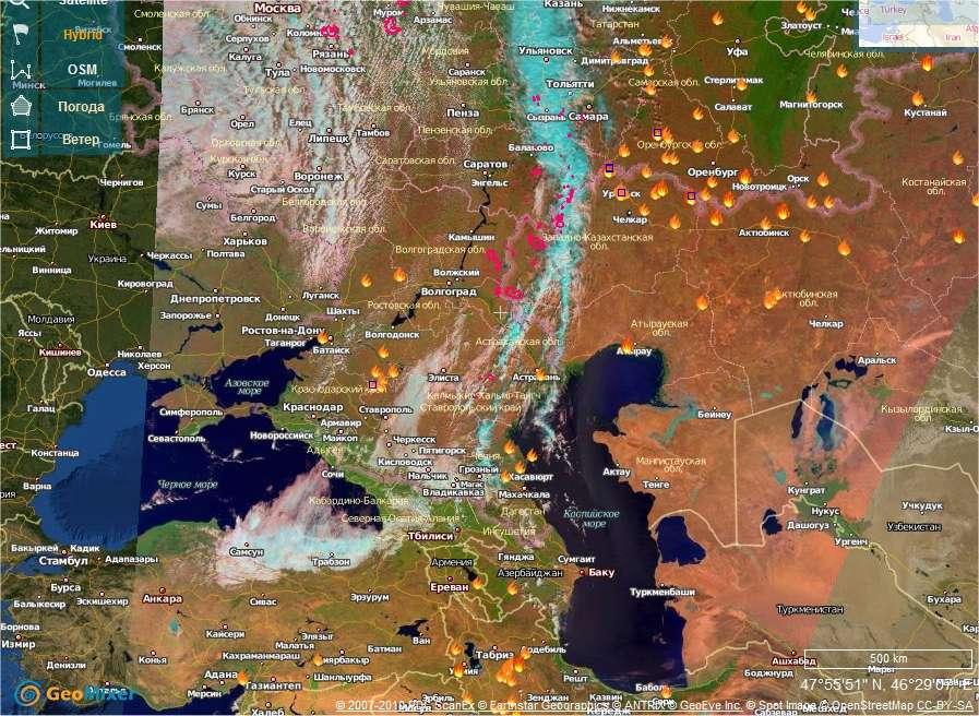 Le service d'images spatiales russe, ScanEx, également appelé Kosmosnimki, publie tous les jours la localisation des foyers d'incendies. On voit ici l'image datée du 3 septembre. Elle montre la Russie de la mer Noire (en bas à gauche) ) à la mer Caspienne (à droite). On remarque de nombreux foyers au nord de la mer Caspienne, dans les montagnes de l'Oural. Presque au milieu de l'image se trouve la ville de Volgograd (écrit en cyrillique, son nom commence par un « B »). Deux foyers sont visibles à sa gauche, donc à l'ouest, en direction de Moscou. © Kosmosnimki