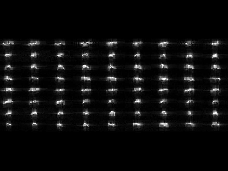 Ce montage de 72 images de l'astéroïde 2012 DA 14 obtenues par le radar de Goldstone dans la nuit du 15 au 16 février 2013 permet d'observer la rotation de ce corps céleste, dont le côté le plus long mesure 40 m. © Nasa, JPL, Caltech