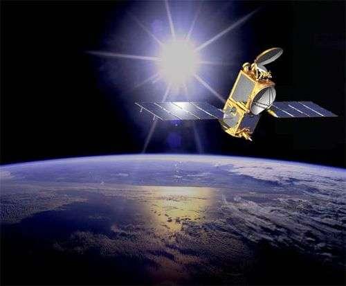 Jason 2 en orbite (image d'artiste). Crédit Nasa