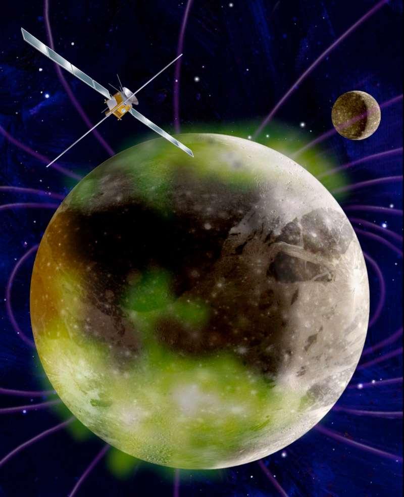 Avec son Orbiter, l'agence spatiale européenne entend bien percer les mystères qui entourent Ganymède, la seule lune connue du Système solaire à posséder un champ magnétique. Habitabilité, composition, géologie et interactions avec Jupiter sont les grands axes de cette mission ambitieuse. © Esa/Nasa & M. Carroll