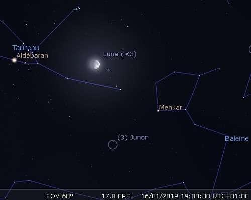 La Lune en rapprochement avec Junon et l'amas des Pléiades