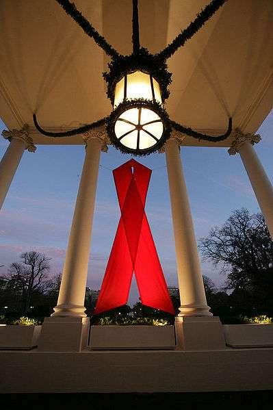 Ruban rouge sur la façade de la Maison Blanche à Washington. - © Commons Wikimedia: Eric Draper