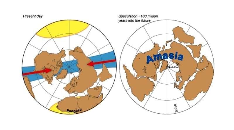 Schémas illustrant la formation du prochain supercontinent proposée par les géophysiciens. Ce sera l'Amasie (Amasia en anglais). © Mitchell et al, Nature