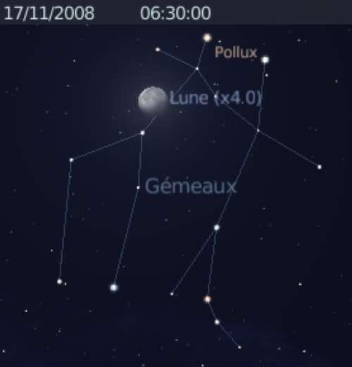 La Lune est en rapprochement avec l'étoile Pollux