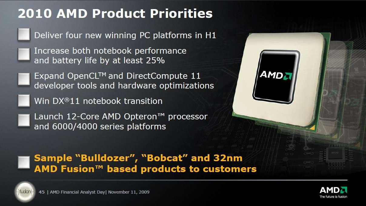 Planning d'AMD pour l'année 2010 (en anglais). © AMD