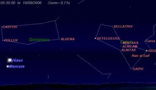 Les planètes Mercure et Vénus sont en conjonction