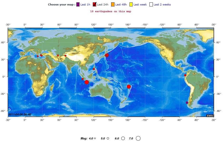 Les 18 séismes de magnitude supérieure à 4 survenus en 24 heures entre le dimanche 3 avril et le lundi 4 avril. © CSEM