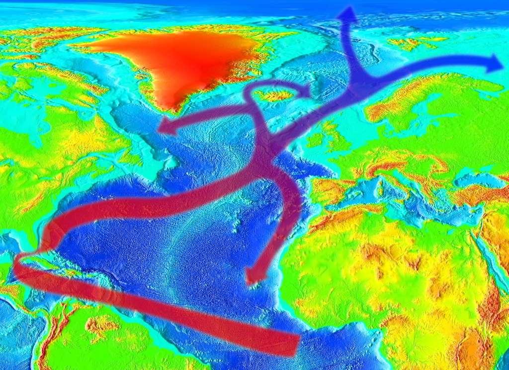 Le Gulf Stream est un courant océanique transportant de l'eau chaude depuis une zone comprise entre la Floride et les Bahamas (température comprise entre 24 et 28 °C) et en direction des plus hautes latitudes. De nombreux tourbillons océaniques s'en détachent en cours de route. © RedAndr, Wikimedia Commons, cc by sa 3.0