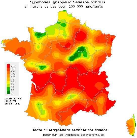 L'épidémie de grippe entame son recul en France, juste à temps pour les vacances d'hiver ! © Réseau Sentinelles