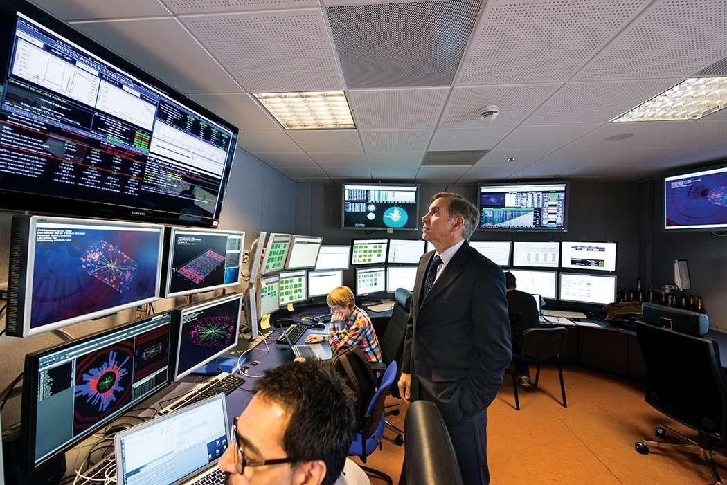 Une vue de la salle de contrôle du détecteur CMS au Cern, l'un des quatre détecteurs géants du LHC. Avec lui, les physiciens ont découvert le boson de Brout-Englert-Higgs. Découvrira-t-il le boson Z' ? © Cern