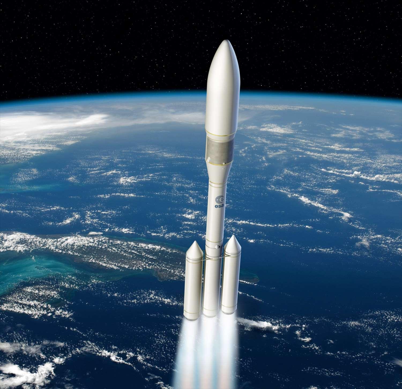 Avec Ariane 6, l'Esa abandonne le lancement double et revient au concept modulaire d'Ariane 4. Ce futur lanceur en ligne sera capable de mettre en orbite en lancement simple trois à cinq tonnes, ce qui représente l'essentiel des missions dites institutionnelles, et jusqu'à huit tonnes, ce qui correspond au maximum des missions commerciales que l'on peut prévoir. © Esa, D. Ducros, 2012