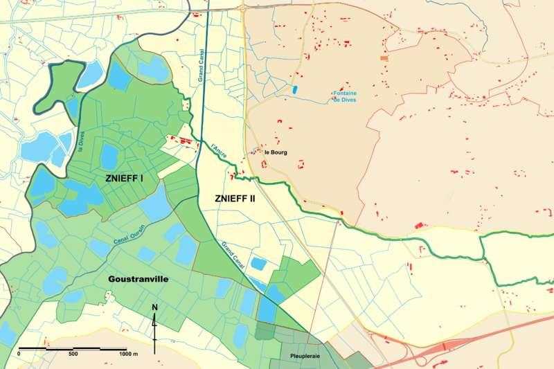 Carte des zones écologiques de Brucourt avec mention des différentes znieff. © Michel d'Auge, Wikimédia CC by-sa 3.0
