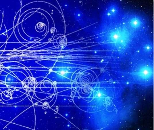 La science du XXe siècle a réalisé une descente vertigineuse au cœur de la matière et s'est élancée vers l'infiniment grand avec la cosmologie. Plus que jamais, nous savons maintenant que l'infiniment petit, que l'on voit symbolisé à gauche par des trajectoires de particules dans une chambre à bulles, est étroitement lié au monde des étoiles (comme les Pléiades, à droite de l'image) et des galaxies. © Aspera