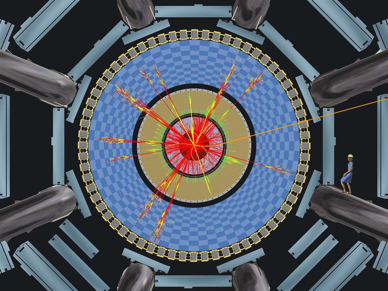 Une représentation des particules émises par l'évaporation d'un mini trou noir dans le détecteur Atlas, notez la taille de la personne à droite du schéma. Crédit : Cern