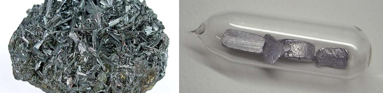 Le thallium est un élément chimique hautement toxique. À gauche un minéral contenant du thallium et à droite du thallium pur. © Rob Lavinsky, iRocks.com, Wikimedia Commons, CC by-sa 3.0 et W. Oelen, Wikimedia Commons, CC by-sa 3.0