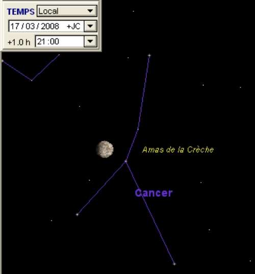 La Lune est en rapprochement avec l'amas de la Crèche (M44)