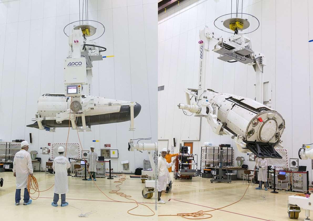 L'IXV, le démonstrateur de rentrée atmosphérique européen dans le Bâtiment S1 du Centre spatial guyanais. Ce bâtiment est destiné à la préparation et à la vérification des satellites dès leur arrivée au CSG. © Esa, Cnes, Arianespace