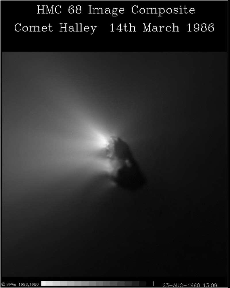 Le noyau de la comète de Halley vu par la sonde Giotto en 1986. © Esa/MPAE