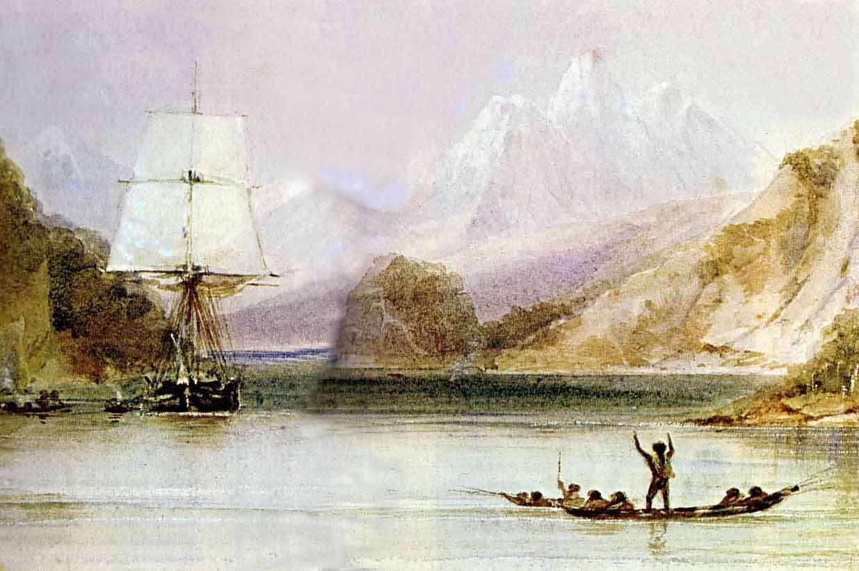 Le HMS Beagle dans les eaux de la Terre de Feu, peinture de Conrad Martens réalisée durant Le Voyage du Beagle (1831-1836), provenant de The Illustrated Origin of Species de Charles Darwin illustré par Richard Leakey