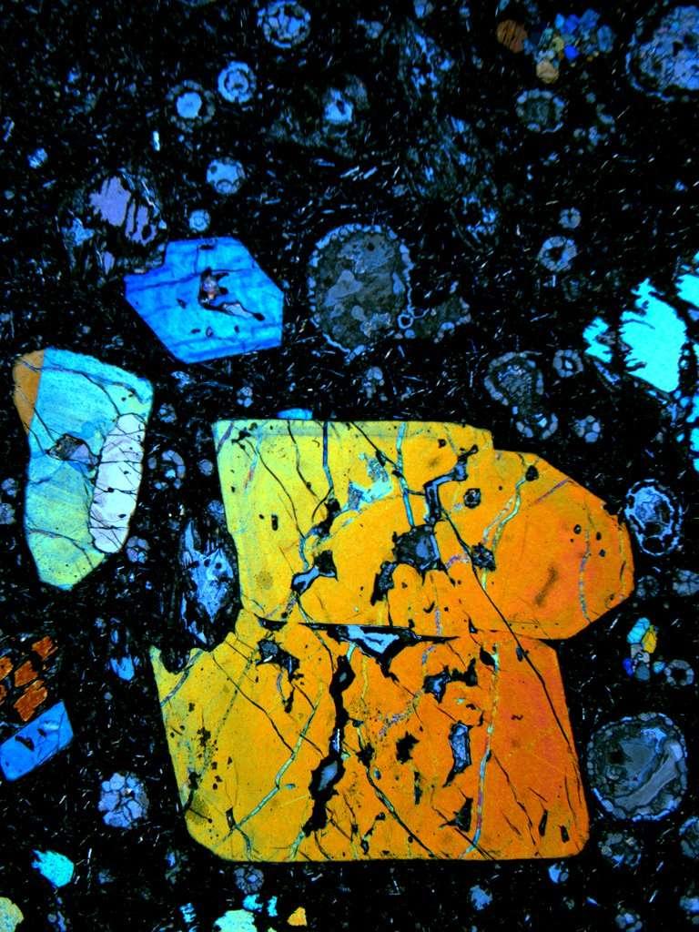 Des composés soufrés présents dans ce cristal d'olivine ont fourni de précieuses informations sur le recyclage des croûtes océaniques archéennes, donc vieilles de plus de 2,45 milliards d'années. La surface réelle du détail du cristal à l'image est de 8,5 mm de haut et de 7 mm de large. © J.M.D. Day