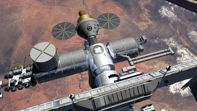 Le véhicule Orion (concept actuel) amarré à l'ISS. Crédit NASA.