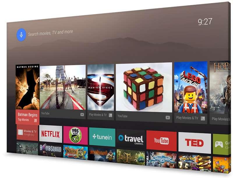 Google promeut son Android TV pour relier un téléviseur à Internet et, surtout, à ses catalogues de films et de jeux. Sony et Sharp promettent des matériels (décodeurs et téléviseurs) en 2015. © Google
