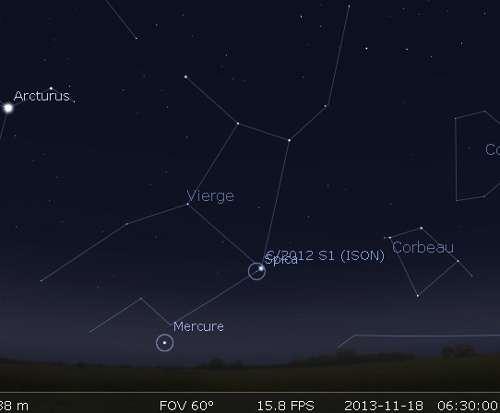 La comète Ison en rapprochement avec Spica