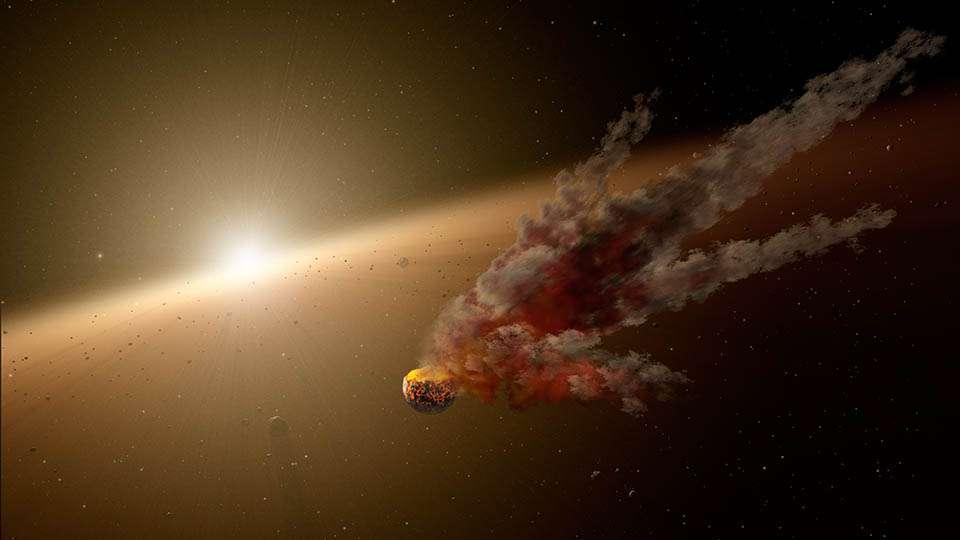 Illustration du nuage de débris observé dans l'infrarouge avec le télescope spatial Spitzer. Il fut vraisemblablement produit par la collision de deux astéroïdes (ou planétoïdes), entre août et décembre 2012, au sein du vaste disque de poussières et de planétésimaux qui entourent la très jeune étoile NGC 2547– ID8, à 1.200 années-lumière de nous. © Nasa, JPL-Caltech, R. Hurt (Ipac)