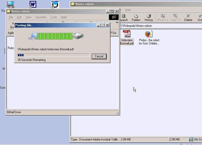 Copie d'un fichier depuis le disque dur de l'ordinateur vers le Gmail drive. Crédit : Futura-Techno