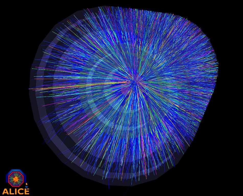 Une autre image des collisions qui se sont déroulées lors de la journée du 7 novembre 2010 dans le détecteur Alice. Les couleurs représentent les énergies des particules. © LHC
