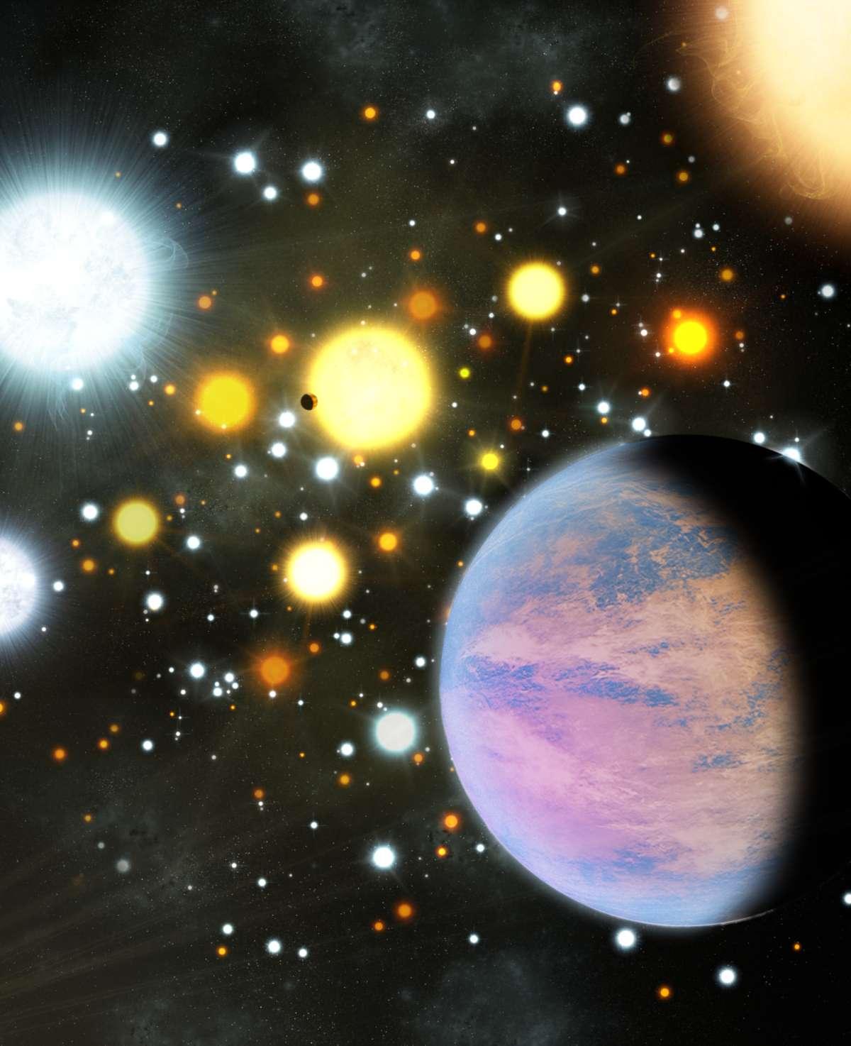 Une image d'artiste montrant les mini-Neptunes découvertes dans un amas ouvert par Kepler. La densité des étoiles dans l'amas NGC 6811 est élevée, mais moins que sur cette image, qui en montre une vision exagérée. © Michael Bachofner